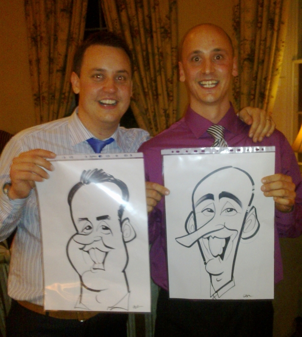 wedding caricature of twins