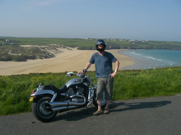 My brother and my Harley on the cliff at Pentire