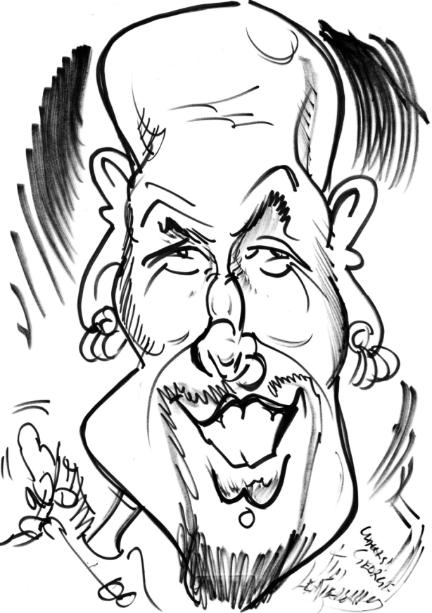 caricature by Tim Leatherbarrow