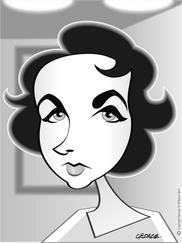 Liz Taylor caricature